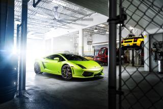 Neon Green Lamborghini Gallardo - Obrázkek zdarma pro Android 480x800