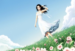Girl In Blue Dress In Flower Field Background for Android, iPhone and iPad