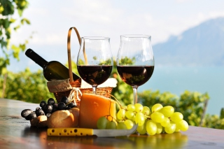Picnic with wine and grapes - Obrázkek zdarma pro Widescreen Desktop PC 1920x1080 Full HD