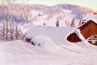 Anshelm Schultzberg Winter Landscape Background for Android, iPhone and iPad