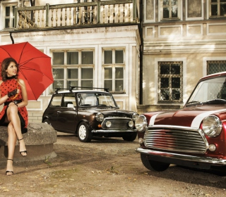 Girl With Red Umbrella And Vintage Mini Cooper - Obrázkek zdarma pro 128x128