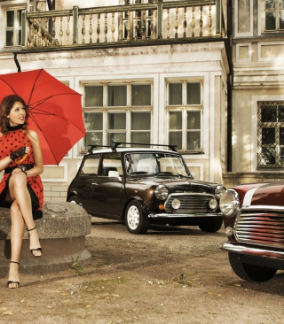 Girl With Red Umbrella And Vintage Mini Cooper - Obrázkek zdarma pro 360x400