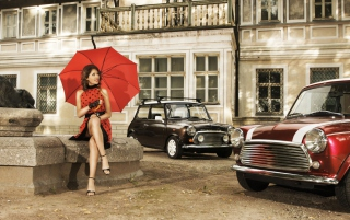 Girl With Red Umbrella And Vintage Mini Cooper - Obrázkek zdarma pro 1080x960