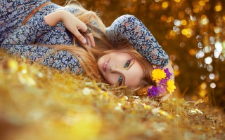 Romantic Girl With Flowers Background for Android, iPhone and iPad