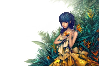 Free Girl In Yellow Dress Painting Picture for Android, iPhone and iPad
