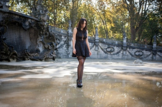 Stockings brunette in puddle Background for Android, iPhone and iPad