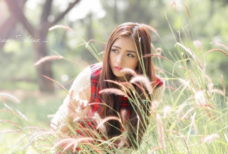 Asian Girl In Field Background for Android, iPhone and iPad