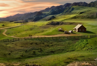 Little House In Mountains Wallpaper for Android, iPhone and iPad