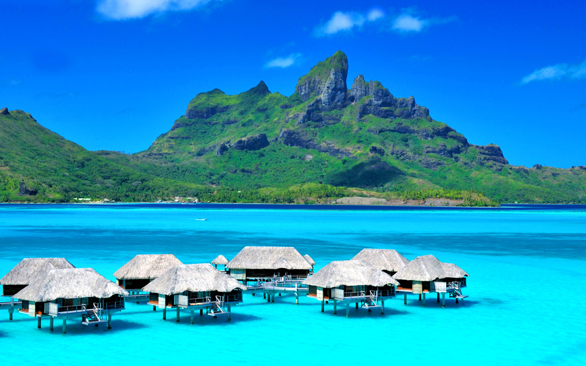 Bora bora overwater bungalow hotel sfondi gratuiti per for Immagini 1920x1080