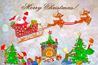 Merry Xmas Card Wallpaper for Android, iPhone and iPad