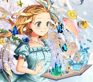 Cute Anime Girl with Book - Obrázkek zdarma pro iPad Air