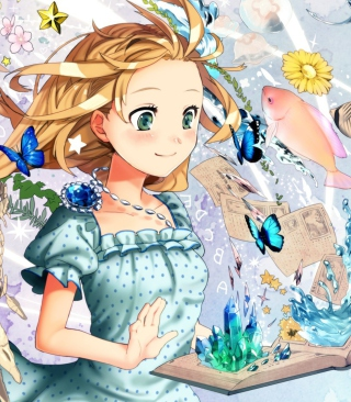 Cute Anime Girl with Book - Obrázkek zdarma pro iPhone 4S