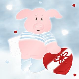 Pink Pig With Heart - Obrázkek zdarma pro iPad mini