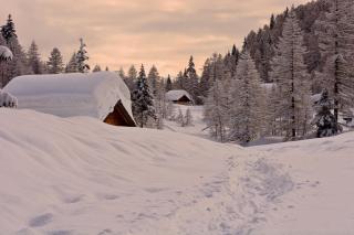 Snowfall in Village - Obrázkek zdarma pro Fullscreen 1152x864
