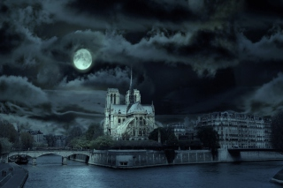 Notre Dame De Paris At Night Background for Android, iPhone and iPad
