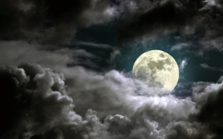 Full Moon Behind Heavy Clouds Background for Android, iPhone and iPad