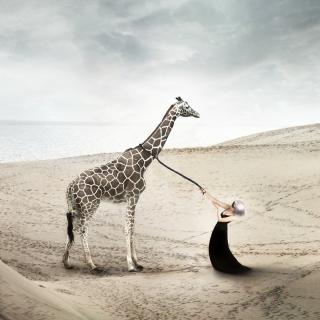 Girl And Giraffe - Obrázkek zdarma pro 208x208