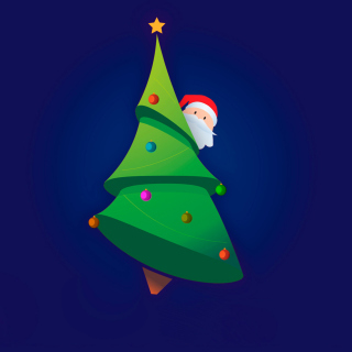 Santa Hising Behind Christmas Tree - Obrázkek zdarma pro iPad mini 2