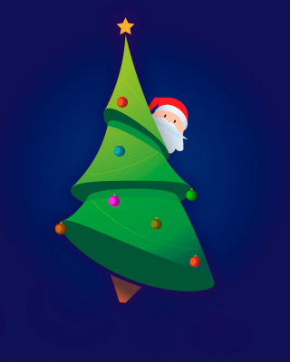 Santa Hising Behind Christmas Tree - Obrázkek zdarma pro 360x480