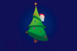 Santa Hising Behind Christmas Tree Background for Android, iPhone and iPad