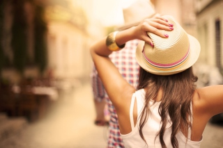 Summer Girl In Panama Hat Background for Android, iPhone and iPad