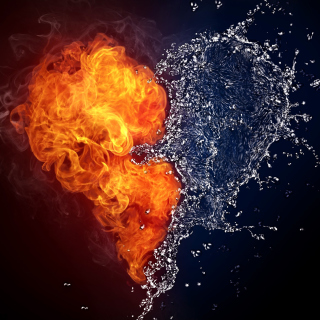 Water and Fire Heart - Obrázkek zdarma pro iPad mini
