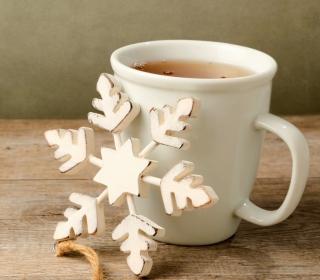 White Wooden Snowflake - Obrázkek zdarma pro 208x208