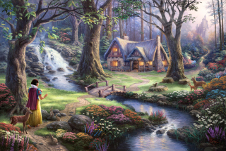 Thomas Kinkade, Snow White Background for Android, iPhone and iPad