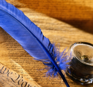Blue Writing Feather - Obrázkek zdarma pro iPad mini 2