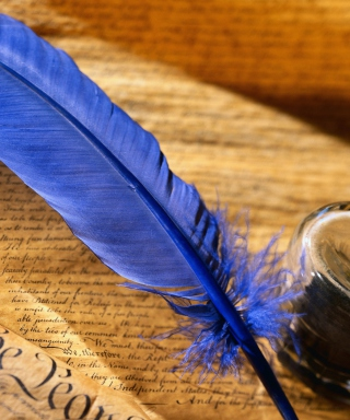 Blue Writing Feather - Obrázkek zdarma pro iPhone 5