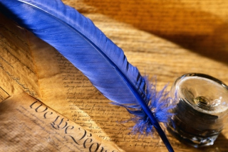 Blue Writing Feather - Obrázkek zdarma pro LG P500 Optimus One