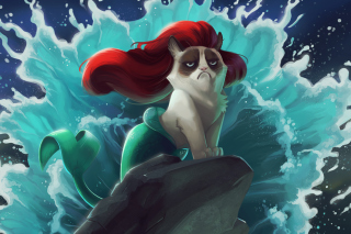 Grumpy Cat Mermaid Background for Android, iPhone and iPad
