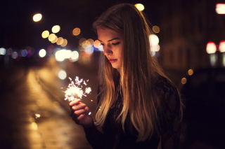 Girl With Bengal Lights Picture for Android, iPhone and iPad