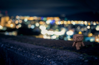 Danbo Walking At City Lights Picture for Android, iPhone and iPad