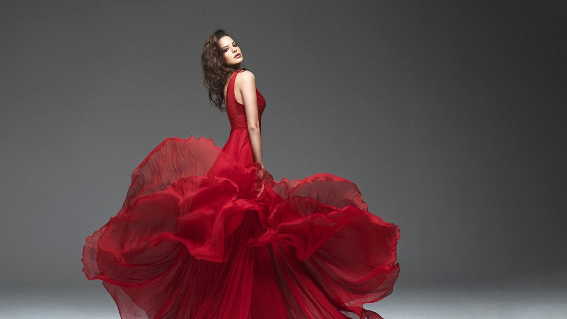 Girl in beautiful red dress wallpaper for desktop 1920x1080 full hd