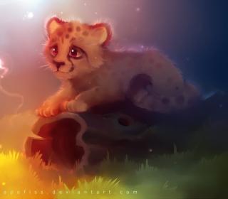 Cute Cheetah Painting - Obrázkek zdarma pro 128x128