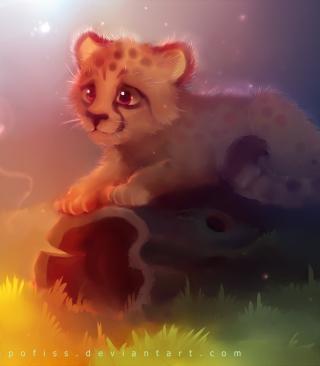 Cute Cheetah Painting - Obrázkek zdarma pro 132x176