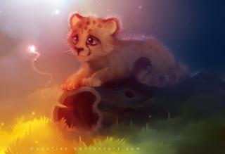 Cute Cheetah Painting - Obrázkek zdarma pro 1600x1200