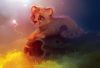 Cute Cheetah Painting - Obrázkek zdarma pro Samsung Galaxy S6 Active