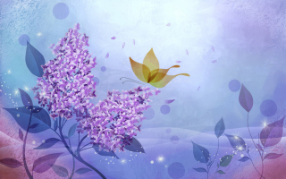 Butterfly Lilac Art Picture for Android, iPhone and iPad