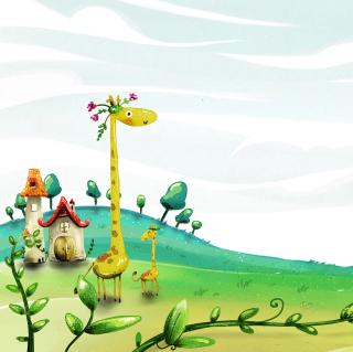 Vector Spring Giraffes - Obrázkek zdarma pro iPad Air
