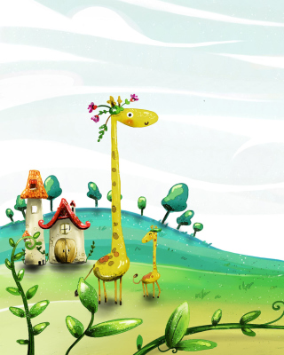 Vector Spring Giraffes - Obrázkek zdarma pro Nokia X2