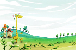 Vector Spring Giraffes - Obrázkek zdarma pro 1920x1080