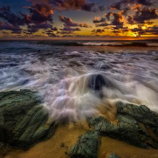 Seashore with big stones UHD - Obrázkek zdarma pro 2048x2048