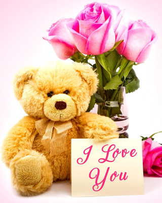 Valentines Day, Teddy Bear Background for Nokia Asha 303