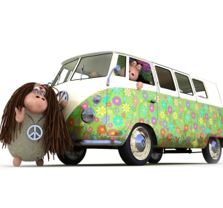Hippies Sheeps - Obrázkek zdarma pro 1024x1024