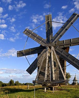 Kizhi Island with wooden Windmill - Obrázkek zdarma pro Nokia 300 Asha