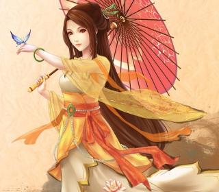 Japanese Woman & Butterfly - Obrázkek zdarma pro iPad 2