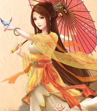Japanese Woman & Butterfly - Obrázkek zdarma pro 352x416