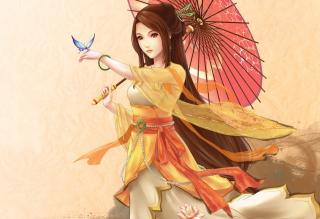 Japanese Woman & Butterfly - Obrázkek zdarma pro Widescreen Desktop PC 1920x1080 Full HD